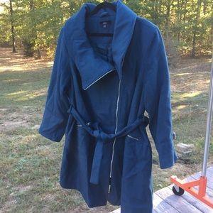 Ellos Asymmetrical zip Wool Coat 24 Teal #64